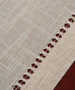 Grelucgo Handmade Double Hemstitch Natural Tablecloth Oval 60 By 84 Inch 0 0 300x360