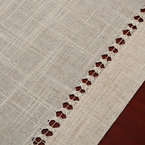 Grelucgo Handmade Double Hemstitch Natural Tablecloth Oval 60 By 84 Inch 0 0