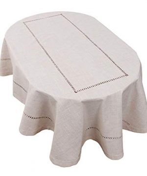 Grelucgo Handmade Double Hemstitch Natural Tablecloth Oval 60 By 84 Inch 0 300x360