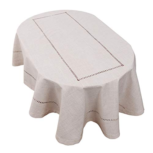 Grelucgo Handmade Double Hemstitch Natural Tablecloth Oval 60 By 84 Inch 0