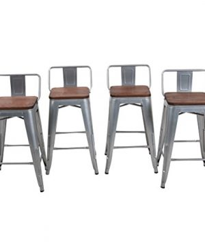 HAOBO Home 24 Low Back Metal Counter Stool Height Bar Stools With Wooden Seat Set Of 4 Barstools Silver 0 300x360