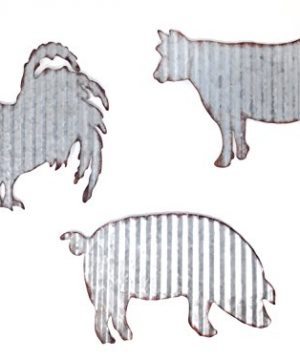 HL Cow Pig Rooster Galvanized Metal Farmhouse Wall Art Set 0 300x360