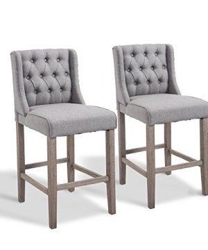 HOMCOM 40 Tufted Wingback Counter Height Armless Bar Stool Dining Chair Set Of 2 Grey 0 300x360