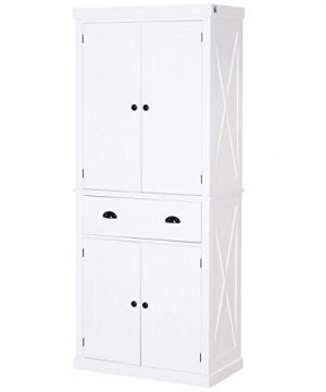 HOMCOM 6ft Wood Farmhouse Colonial Kitchen Pantry Cabinet With Adjustable Shelves 2 Wood Pantries A Drawer White 0 300x360