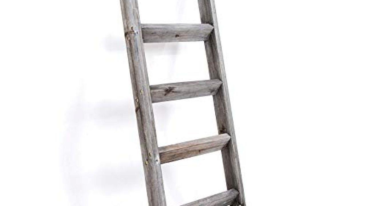 Blanket Ladder 5 Ft Premium Wood Rustic Decorative Quilt Ladder Gray White Vintage Wooden Decor Throw Blankets Holder Farmhouse Goals