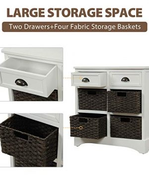 Harper Bright Designs Rustic Storage Cabinet With Two Drawers And Four Classic Fabric Basket For KitchenDining RoomEntrywayLiving Room Accent Furniture White 0 1 300x360