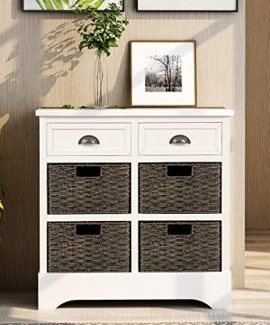 Harper Bright Designs Rustic Storage Cabinet With Two Drawers And Four Classic Fabric Basket For KitchenDining RoomEntrywayLiving Room Accent Furniture White 0 300x360