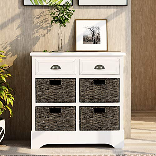 Harper Bright Designs Rustic Storage Cabinet With Two Drawers And Four Classic Fabric Basket For KitchenDining RoomEntrywayLiving Room Accent Furniture White 0