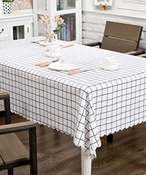 Hewaba Rectangle Printed Tablecloth 60 X 84 Polyester Washable Table Cover Seats 6 8 People Wrinkle Free Oil ProofWaterproof Tabletop Protector For Kitchen Dining Party White Plaid 0 300x360