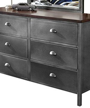 Hillsdale Furniture Urban Quarters 6 Drawer Metal Dresser Black SteelAntique Cherry Finish 0 300x360