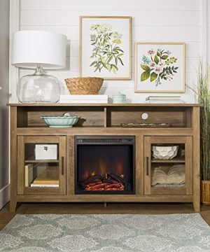 Home Accent Furnishings Lucas 58 Inch Highboy Fireplace TV Stand In Rustic Oak 0 300x360