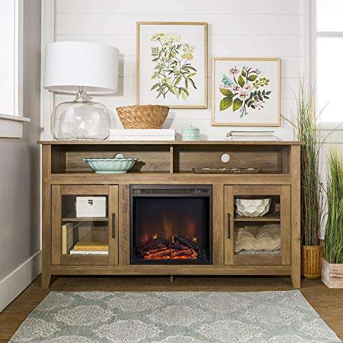 Home Accent Furnishings Lucas 58 Inch Highboy Fireplace TV Stand In Rustic Oak 0