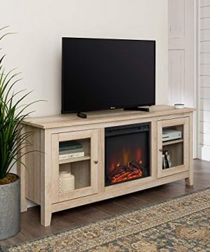 Home Accent Furnishings Lucas 58 Inch Television Stand With Fireplace In White Oak 0 0 300x360