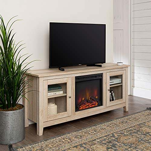 Home Accent Furnishings Lucas 58 Inch Television Stand With Fireplace In White Oak 0 0