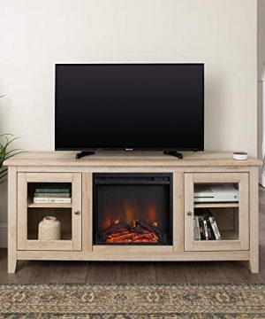 Home Accent Furnishings Lucas 58 Inch Television Stand With Fireplace In White Oak 0 300x360