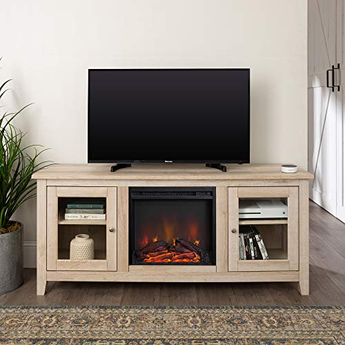 Home Accent Furnishings Lucas 58 Inch Television Stand With Fireplace In White Oak 0
