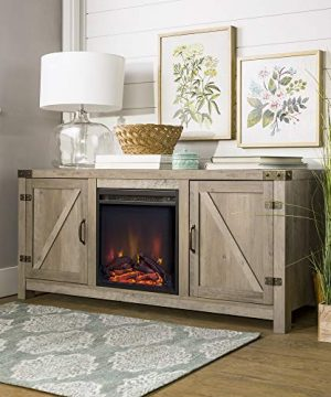 Home Accent Furnishings New 58 Inch Barn Door Fireplace Television Stand Grey Wash 58 Inch 0 300x360