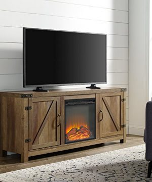 Home Accent Furnishings Tucker 58 Inch Barn Door Fireplace Television Stand In Rustic Oak 0 300x360