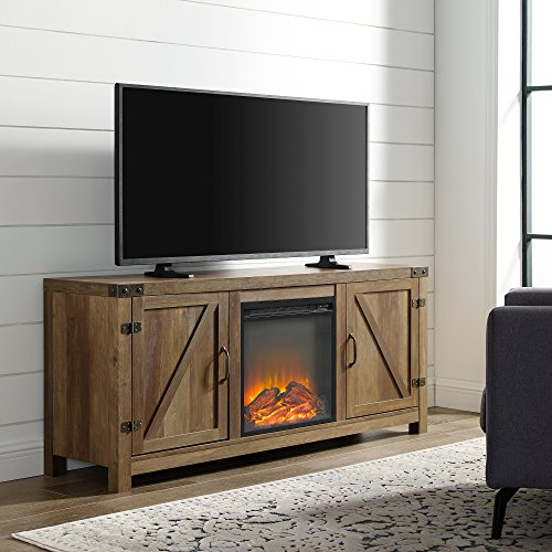 Home Accent Furnishings Tucker 58 Inch Barn Door Fireplace Television Stand In Rustic Oak 0