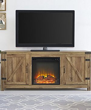 Home Accent Furnishings Tucker 58 Inch Barn Door Fireplace Tv Stand In Barnwood 0 300x360