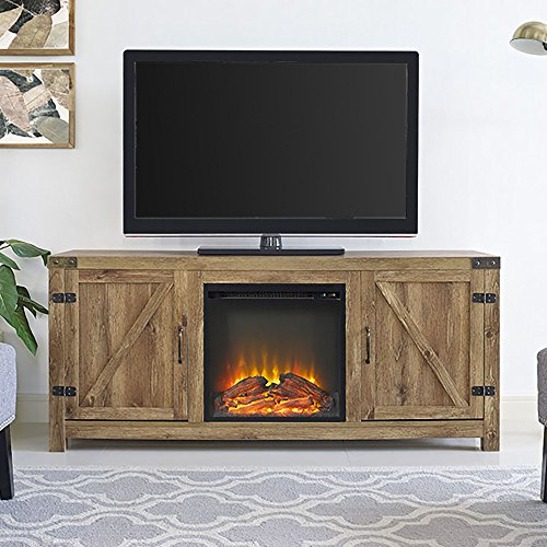 Home Accent Furnishings Tucker 58 Inch Barn Door Fireplace Tv Stand In Barnwood 0