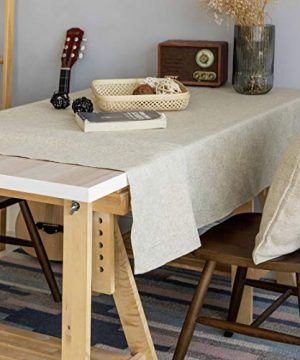 Home Brilliant Burlap Tablecloth Solid Farmhouse Checker Table Covers For Party Kitchen Indoor Outdoor Table Clothes For Dining Table 52x102 Inch Natural Linen 0 0 300x360