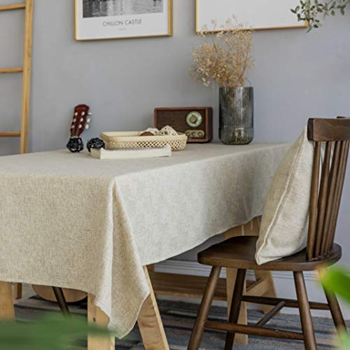 Home Brilliant Burlap Tablecloth Solid Farmhouse Checker Table Covers For Party Kitchen Indoor Outdoor Table Clothes For Dining Table 52x102 Inch Natural Linen 0 1