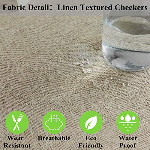 Home Brilliant Burlap Tablecloth Solid Farmhouse Checker Table Covers For Party Kitchen Indoor Outdoor Table Clothes For Dining Table 52x102 Inch Natural Linen 0 2
