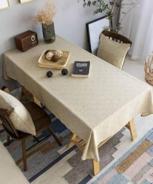 Home Brilliant Burlap Tablecloth Solid Farmhouse Checker Table Covers For Party Kitchen Indoor Outdoor Table Clothes For Dining Table 52x102 Inch Natural Linen 0 300x360