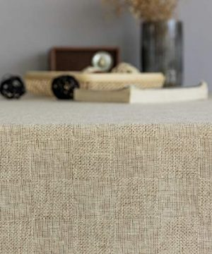 Home Brilliant Burlap Tablecloth Solid Farmhouse Checker Table Covers For Party Kitchen Indoor Outdoor Table Clothes For Dining Table 52x102 Inch Natural Linen 0 4 300x360
