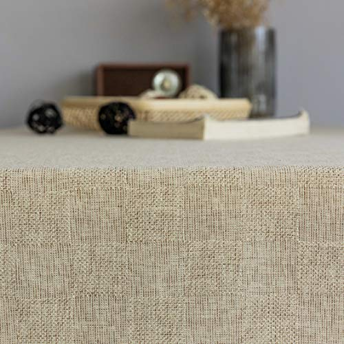 Home Brilliant Burlap Tablecloth Solid Farmhouse Checker Table Covers For Party Kitchen Indoor Outdoor Table Clothes For Dining Table 52x102 Inch Natural Linen 0 4