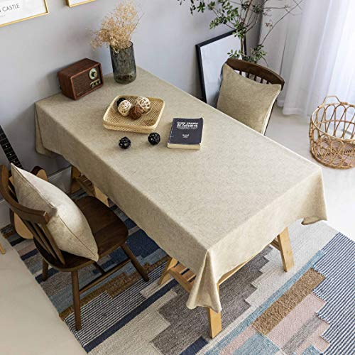 Home Brilliant Burlap Tablecloth Solid Farmhouse Checker Table Covers For Party Kitchen Indoor Outdoor Table Clothes For Dining Table 52x102 Inch Natural Linen 0