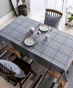 Home Brilliant Checker Plaid Tablecloths For Birthday Party Cafe Stain Resistant Table Covers For Party Dining Table 52x72 Inches Greyish Blue 0 300x360