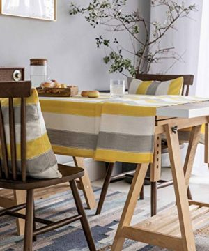 Home Brilliant Yellow Tablecloth Waterproof Striped Farmhouse Colorful Table Covers For Party Kitchen Indoor Outdoor 52x72 Inch Yellow White Grey 0 0 300x360