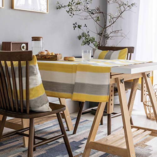 Home Brilliant Yellow Tablecloth Waterproof Striped Farmhouse Colorful Table Covers For Party Kitchen Indoor Outdoor 52x72 Inch Yellow White Grey 0 0