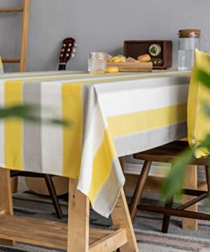 Home Brilliant Yellow Tablecloth Waterproof Striped Farmhouse Colorful Table Covers For Party Kitchen Indoor Outdoor 52x72 Inch Yellow White Grey 0 1 300x360