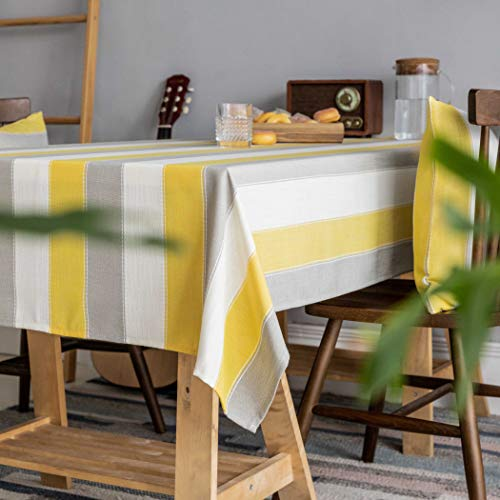 Home Brilliant Yellow Tablecloth Waterproof Striped Farmhouse Colorful Table Covers For Party Kitchen Indoor Outdoor 52x72 Inch Yellow White Grey 0 1
