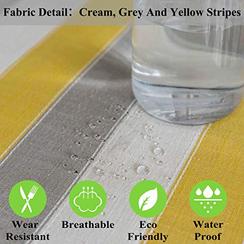 Home Brilliant Yellow Tablecloth Waterproof Striped Farmhouse Colorful Table Covers For Party Kitchen Indoor Outdoor 52x72 Inch Yellow White Grey 0 2