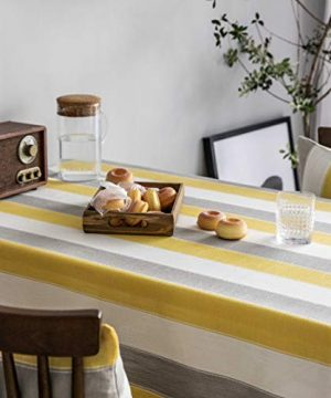Home Brilliant Yellow Tablecloth Waterproof Striped Farmhouse Colorful Table Covers For Party Kitchen Indoor Outdoor 52x72 Inch Yellow White Grey 0 3 300x360