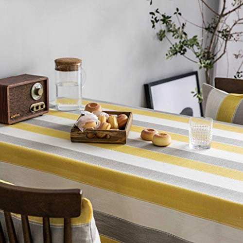 Home Brilliant Yellow Tablecloth Waterproof Striped Farmhouse Colorful Table Covers For Party Kitchen Indoor Outdoor 52x72 Inch Yellow White Grey 0 3