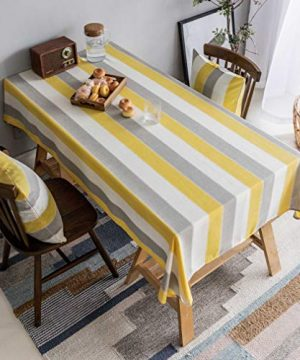 Home Brilliant Yellow Tablecloth Waterproof Striped Farmhouse Colorful Table Covers For Party Kitchen Indoor Outdoor 52x72 Inch Yellow White Grey 0 300x360