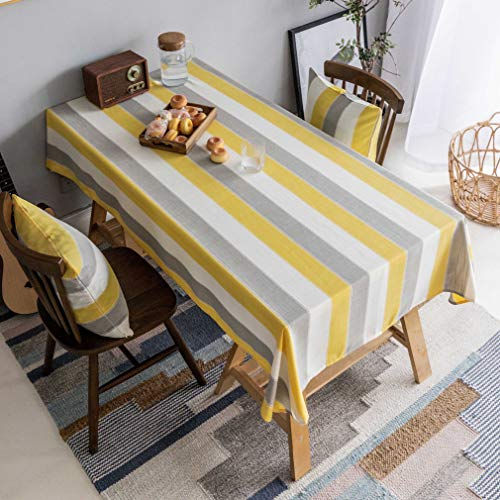 Home Brilliant Yellow Tablecloth Waterproof Striped Farmhouse Colorful Table Covers For Party Kitchen Indoor Outdoor 52x72 Inch Yellow White Grey 0