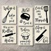 Home Decor Funny Gift 6 Kitchen Wall Art Prints Kitchenware With Sayings Unframed Farmhouse Home Office Organization Signs Bar Accessories Decorations Sets White House Deco Kitchen Decor 8x10 0 100x100