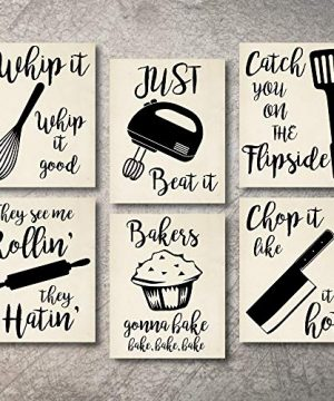 Home Decor Funny Gift 6 Kitchen Wall Art Prints Kitchenware With Sayings Unframed Farmhouse Home Office Organization Signs Bar Accessories Decorations Sets White House Deco Kitchen Decor 8x10 0 300x360