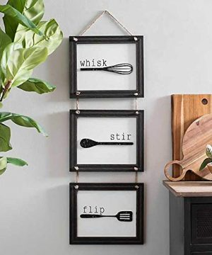 Home Decor Sign Set With Hanging Tools And Saying Wisk Stir Flip Black And White Home Decoration For Kitchen Or Farmhouse Plq Measures 33x12 Inches 0 0 300x360