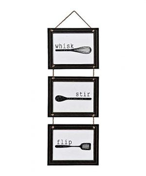 Home Decor Sign Set With Hanging Tools And Saying Wisk Stir Flip Black And White Home Decoration For Kitchen Or Farmhouse Plq Measures 33x12 Inches 0 300x360