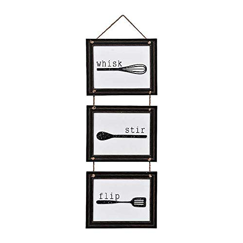 Home Decor Sign Set With Hanging Tools And Saying Wisk Stir Flip Black And White Home Decoration For Kitchen Or Farmhouse Plq Measures 33x12 Inches 0