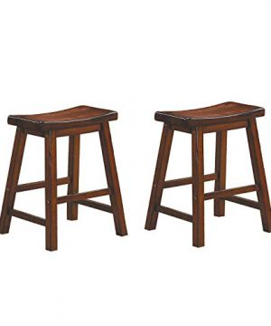 Homelegance Saddleback 18 Inch Height Barstool Cherry Set Of 2 0 300x360