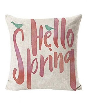INSHERE 2 Pack Hello Spring Flower Throw Pillow Covers Only Decorative Square Pillowcases Cotton Linen Cushion Cover 18 X 18 Inch Hello Spring 2 0 0 300x360