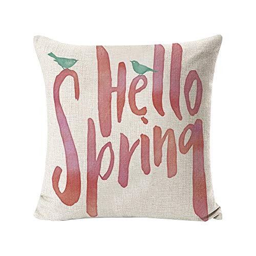 INSHERE 2 Pack Hello Spring Flower Throw Pillow Covers Only Decorative Square Pillowcases Cotton Linen Cushion Cover 18 X 18 Inch Hello Spring 2 0 0